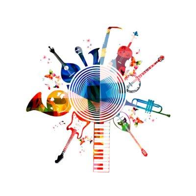 Affisch Färgrik musikinstrument bakgrund