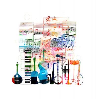 Affisch Färgrik musikinstrument konstruktion