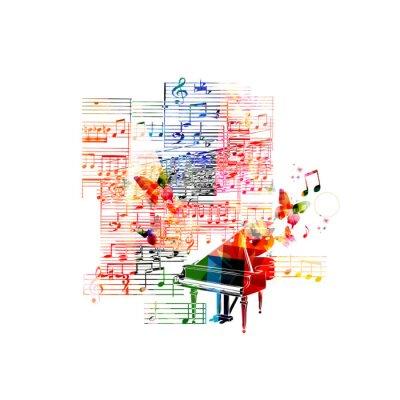 Affisch Färgrik piano utformning