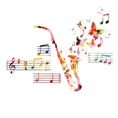 Affisch Färgrik saxofon design med fjärilar