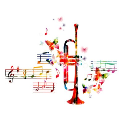 Affisch Färgrik trumpet design med fjärilar
