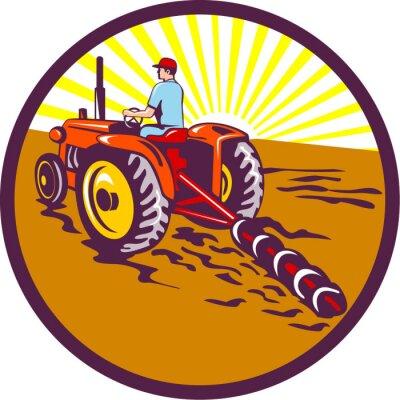 Affisch Farmer På Traktor Circle Retro