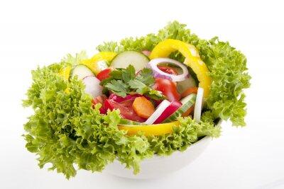 Affisch färsk frisk sallad med blandade grönsaker