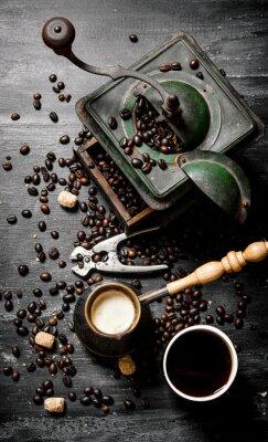 Affisch Färska bryggt kaffe potten