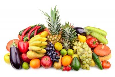 Affisch färska frukter och grönsaker som isolerats på vit