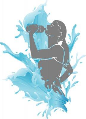 Affisch Female Drinking Fresh Water