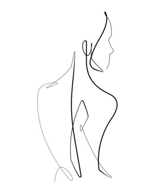 Affisch Female Form Continuous Vector line Graphic