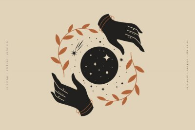 Affisch Female hands hold branches around the shimmering moon. Magic vector illustration in trendy minimal style. Mystical symbols for spiritual practices, ethnic magic, and astrological rites.