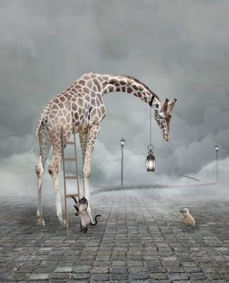 Affisch Find a friend – Surreal conceptual illustration of a giraffe meeting a baby chicken