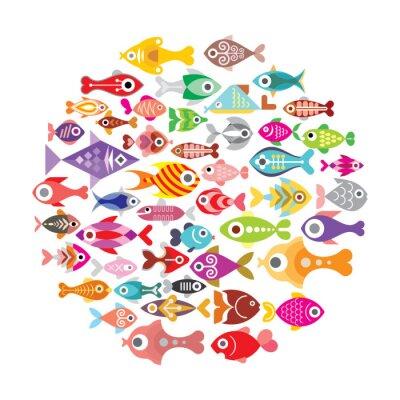 Affisch Fisk ikoner runda