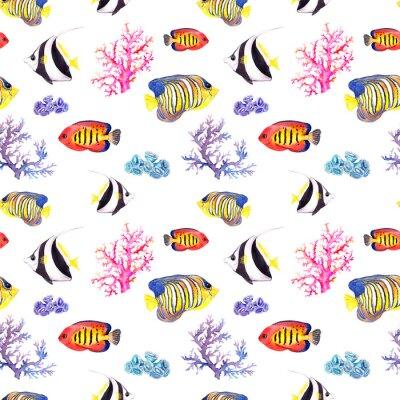 Affisch Fisk och snäckskal. Upprepande sömlösa mönster. Vattenfärg