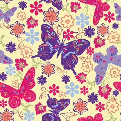 Affisch Fjäril och blomma Seamless Mönster - Illustration