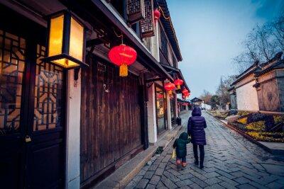 Affisch Flag gränd i Zhouzhuang, Kina