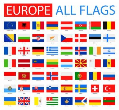 Affisch Flaggor i Europa - Full Vector Collection. Vector Set av Flat European Flags.