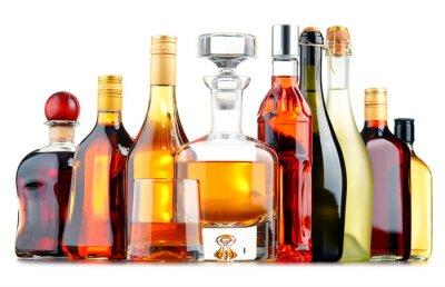 Affisch Flaskor med olika alkoholhaltiga drycker