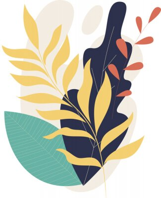Affisch Flat modern floral foliage illustration on the white isolated background. Abstract shapes.