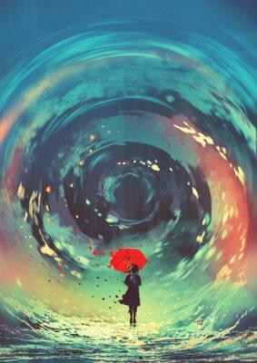 Affisch flicka med rött paraply gör ett virvlande vatten i himlen, digital konststil, illustrationmålning