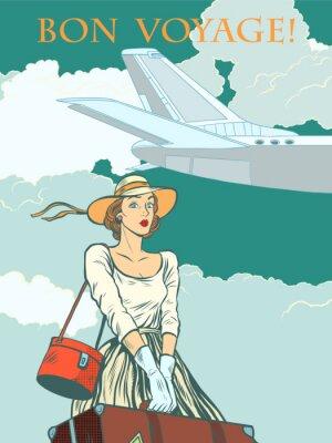 Affisch flicka passagerarplan Bon voyage