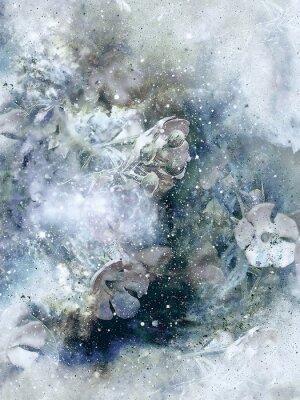Affisch Flovers och vinter bakgrund, gammal stil konst, dator collage.