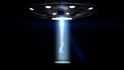 Affisch flygande tefat UFO kidnappade en kvinna