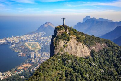 Affisch Flygfoto av Kristus Frälsaren och Rio de Janeiro