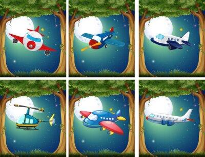 Affisch Flygplan och helikoptrar flyger på natten