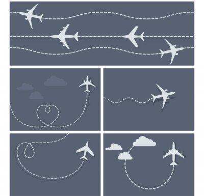 Affisch Flygresa - streckad spår av flygplanet, hjärtformade och lo