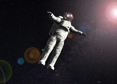 Affisch flytande astronaut i rymden med solen