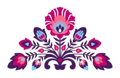 Affisch Folk papercut stil blommor