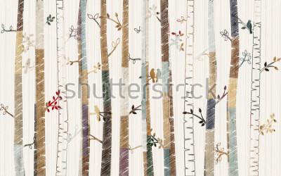 Affisch Forest tree pattern on decorative background wallpaper