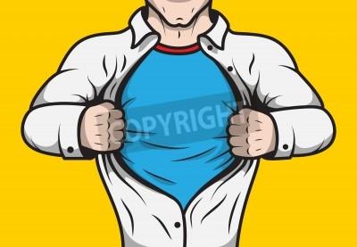 Affisch Förklädd humorbokhjälte vuxen man under tak öppnar hans tröja mall