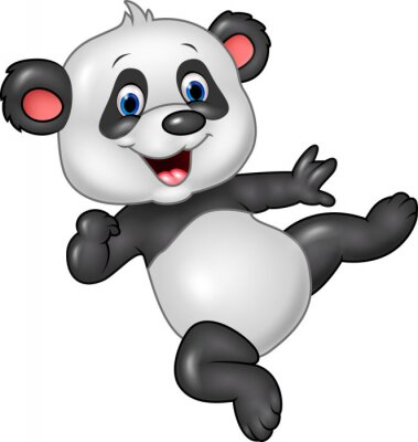 Affisch Förtjusande behandla panda isolerade på vit bakgrund