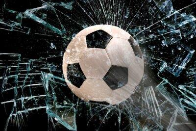 Affisch Fotboll bollen genom glas.
