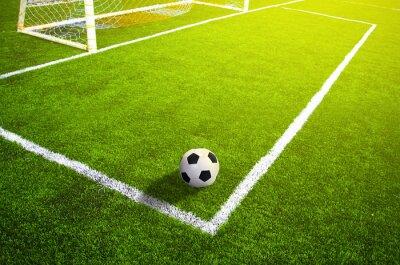 Affisch Fotboll gräsfält med märkning och boll, Sport
