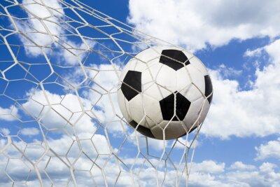 Affisch fotboll i mål netto