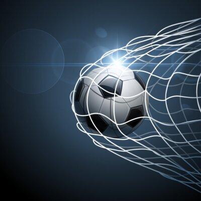 Affisch Fotboll i mål. Vektor