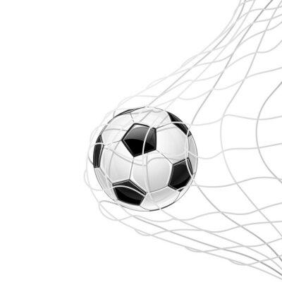 Affisch Fotboll i rutnät isolerade. Vektor