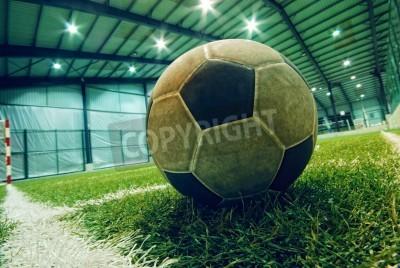 Affisch fotboll på grönt gräs i en inomhus lekplats