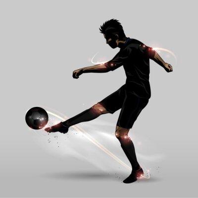Affisch fotbollsspelare halv volley