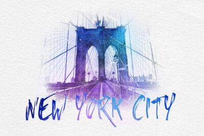 Affisch Framifrån av Brooklyn Bridge med NYC text
