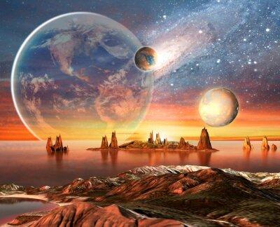 Affisch Främmande planet med jorden månen och Berg