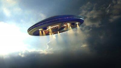 Affisch Främmande UFO tefat flyger genom molnen ovanför jorden