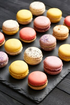 Affisch Franska läcker dessert macaroons
