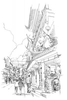 Affisch frihand skiss kinesiska byggnader och stadsgata