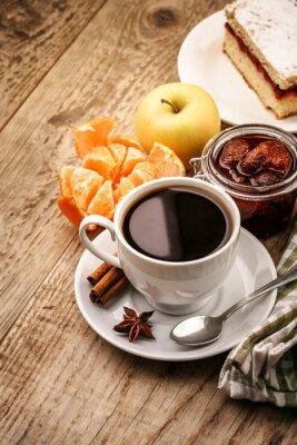 Affisch Frukost med kaffe och frukt