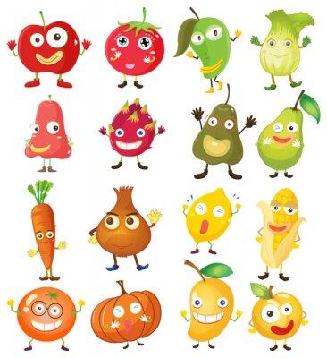 Affisch Frukt och grönsaker med ansiktet