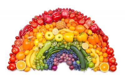 Affisch frukt och grönsaker regnbåge