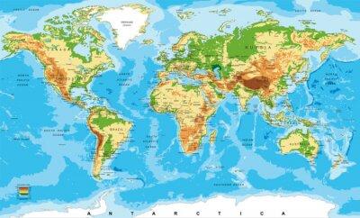 Affisch Fysisk karta över världen
