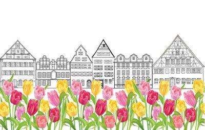 Affisch Gamla byggnader och hus i Amsterdam med blomma tulpaner gränd.
