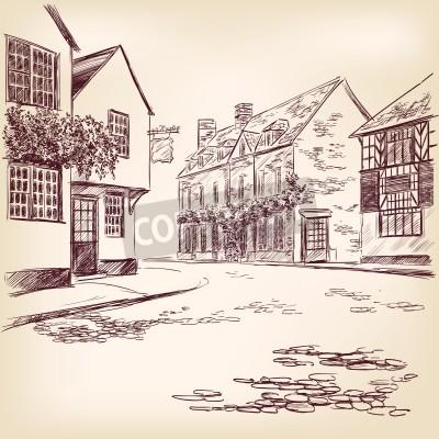 Affisch gamla engelska street handritad